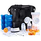 MADENAL Double Electric Breast Pump Travel Set with On The Go Cooler Bag, Ice Pack, Breastmilk Storage Bags, Super Quiet, Comfortable and Effective
