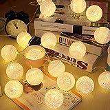 ELINKUME® LED Bolas de algodón luces de hadas, 20 LEDs 4M/13,12 pies, alimentado por USB, blanco cálido bola de algodón iluminación de humor para balcón, ventana, fiesta, boda, navidad