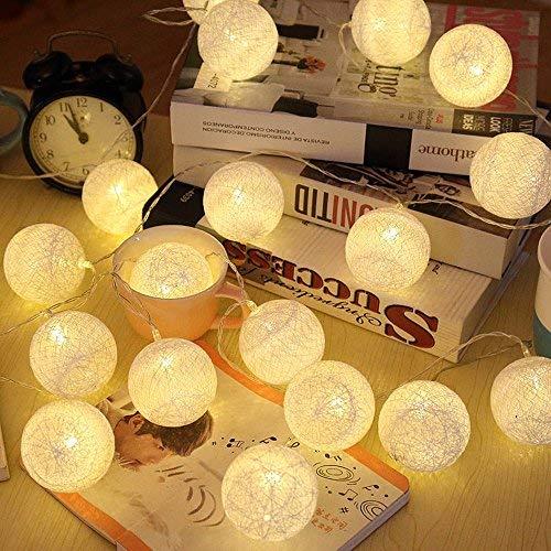 ELINKUME LED Bolas de algodón luces de hadas, 20 LEDs 4M/13,12 pies, alimentado por USB, blanco cálido bola de algodón iluminación de humor para balcón, ventana, fiesta, boda, navidad