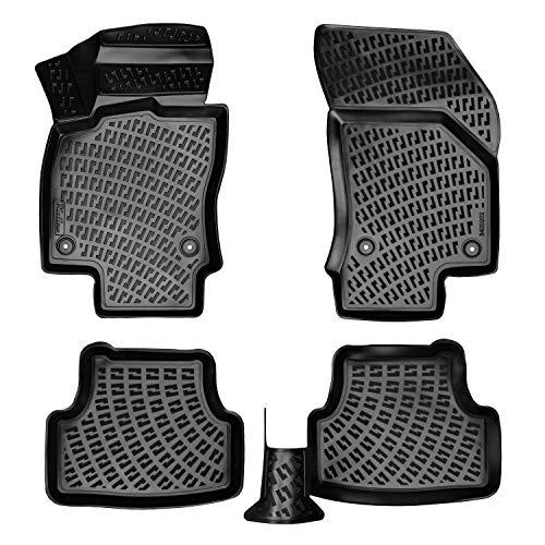 3D Gummimatten Auto Matten Fussmatten kompatibel mit VW Tiguan ab 2015 passgenaue mit hohem Rand c.a 5 cm