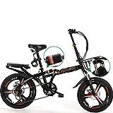 MENG Bicicleta Plegable para Adultos, Bicicletas de Montaña de 16'20', Bicicleta, Bicicleta, Bicicleta, Bicicleta, Bicicleta, Bicicleta, Montaje de Acero de Alto Carbono, Doble Suspensión Completa,