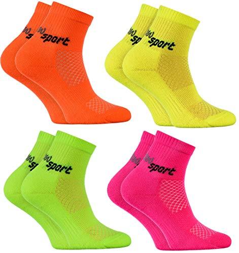 Rainbow Socks - Jungen und Mädchen Neon Sneaker Sportsocken - 4 Paar - Orange Rosa Gelb Grün - Größen 30-35