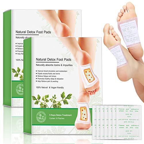 J TOHLO 20 Stück Detox Fußpflaster Detox Pflaster Fuß Mit Bambusessig fördert die Durchblutung und lindert Müdigkeit zum Entfernen von Körpergiften mit selbstklebenden Blättern