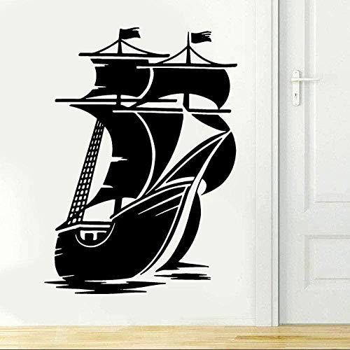 Pegatinas de pared Pegatinas de diseño personalizado Náutico Retro Barco pirata Navegación Arte Pegatina juvenil 57X79cm