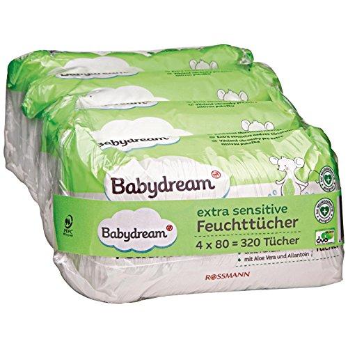 Babydream extra sensitive Feuchttücher 320 Stück 4x80 Tücher für empfindliche Haut, schonende Reinigung, ohne Pafüm, mit Aloe Vera & Allantion, bei Neurodermitis geeignet