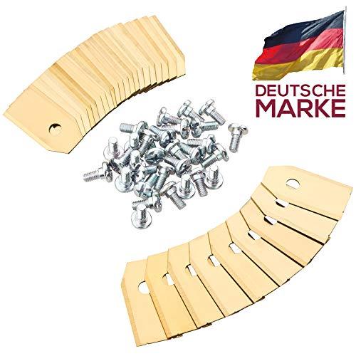 30x Rostfreie PREMIUM Titan Messer Klingen - kompatibel mit Husqvarna, Automower - Gardena Mähroboter - 75mm DICK + 30 Schrauben - Ersatzmesser kompatibel mit 105, 310, 315, 320, 420, 430x, r40i