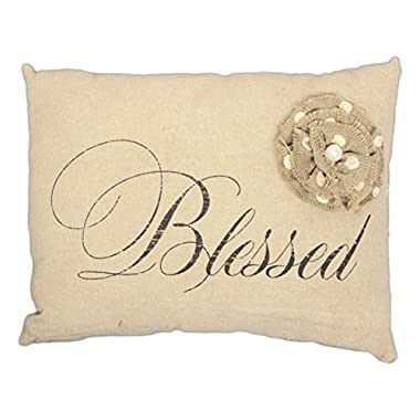Honey & Me Rustic Style Decorative Throw Pillow with Flower Accent (Blessed)