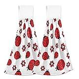 Toallas de cocina mariquitas patrón de flores toallas de mano 2 piezas de secado rápido súper suave absorbente toalla colgante toalla de corbata para cocina, baño, inodoro y hogar 30,5 x 43,2 cm