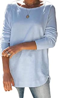 Frieed Women's Casual Pullover Shirt Loose Long-Sleeve Plain T-Shirts Top Blouse