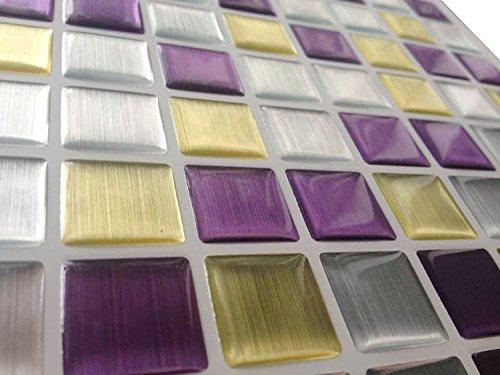 Tile & Sticker, piastrelle adesive, con motivo 3D in gel a mosaico, di alta qualità, effetto metallo color argento e pietre a forma di mattoncino, 10 fogli