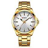 CURREN Reloj Para Hombre Diseño Ejecutivo Formal Casual Correa de Metal Hebilla de Broche Ajustable (Dorado)