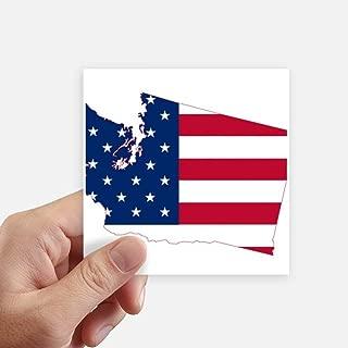 DIYthinker Washington America Map Stars Stripes Flag Square Stickers 10cm Wall Suitcase Laptop Motobike Decal 8pcs 4 inch x 4 inch(10cm x 10cm)