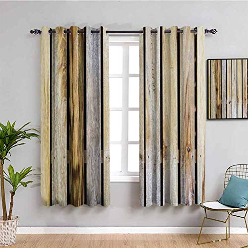 Rustic Home Decor Blackout Curtain Liner Vintage Timber Fence of Country Rough Rural House Village Mother Earth Print Easy to Clean Brown W52 x L63 Inch