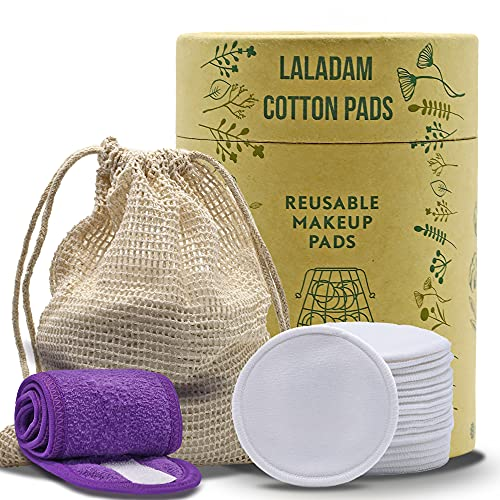 Laladam Reusable 20 Pack Makeup Remover Pads - Eco-Friendly Soft Cotton Pads with Washable Laundry Bag - Storage Box and Bonus Spa Headband-100% Organic Bamboo Cotton Rounds
