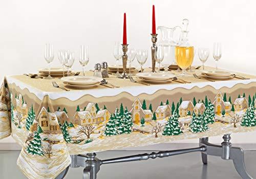 KUTEX Esclusiva Tovaglia di Natale Moderna Rettangolare in 100% Cotone con Stampa Eco-Friendly Disegno Paesaggio Natalizio (Rosso, 140 X 180 CM)