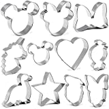 BakingWorld 11 Pcs Cookie Cutters for Kids,Mickey Minnie Mouse Donald Duck Dinosaur Unicorn Heart Star Bow Shapes Stainless Steel Biscuit Fondant Pancake Sandwiches Cutter Mold for Birthday Party