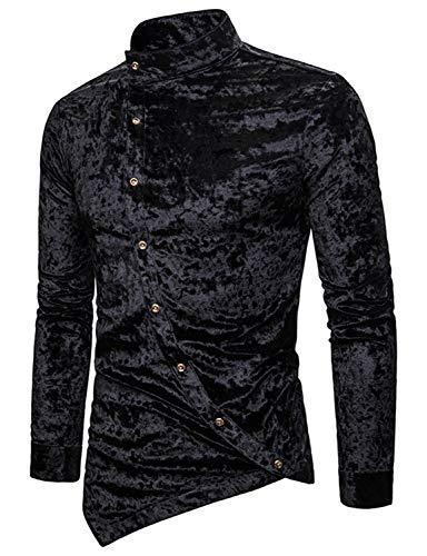 WHATLEES Herren Design Langärmlig asymmetrisches Velour-Hemd mit Stehkragent, 02010202x Schwarz, Gr.- M