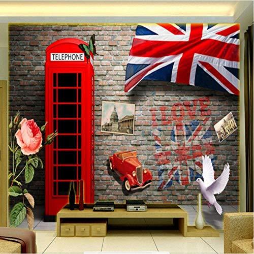 Hyllbb Fotomurales Papel tapiz fotográfico 3D estéreo Europa Estados Unidos cabina telefónica retro pared de ladrillo lobby mural papel tapiz personalizado-400cmx280cm