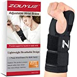 Carpal Tunnel Wrist Brace, Night Sleep Both Hands Wrist Support, Removable Metal Wrist Splint, Breathable Hand Brace for Men, Women, Tendonitis, Sports Injuries Pain Relief (One Size)