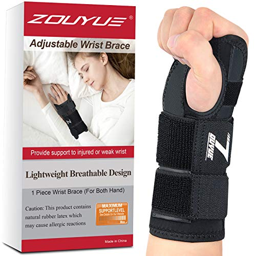 Carpal Tunnel Wrist Brace, Night Sleep Both Hands Wrist Support, Removable Metal Wrist Splint, Breathable Hand Brace for Men, Women, Tendonitis, Sports Injuries Pain Relief-M