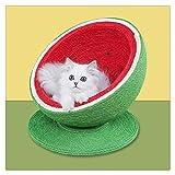 WUHUAROU Katzen-Kratzbrett Rote wassermelonenförmige Sisal-Katzen, die Baumbalkon-Katzenbett...