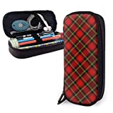 Hdaw Waterproof Leather Black Red Tartan Estuche para lápices Estuche para maquillaje High Capacity Stationery Holder Storage Organizer with Zipper for School Office Travel