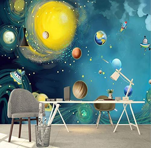 Comic handgeschilderd 3D Cosmic sterrenhemel fotobehang slaapkamer kinderkamer achtergrond muur kleuterschool 350cm*245