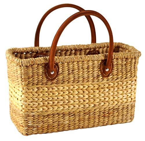 Kobolo Tasche Korbtasche aus Wasserhyazinthe - Lederhenkel - 38x16x24 cm