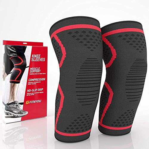 FIT4YOU Compression Knee Brace – Knee Brace Compression Sleeve – Knee Sleeves for Knee Pain –...