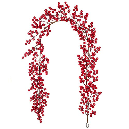 Lvydec Red Berry Garland Christmas Decoration - 5.6ft Artificial Red Berry Garland with Bendable Stems for Holiday Fireplace Mantel Table Decorations