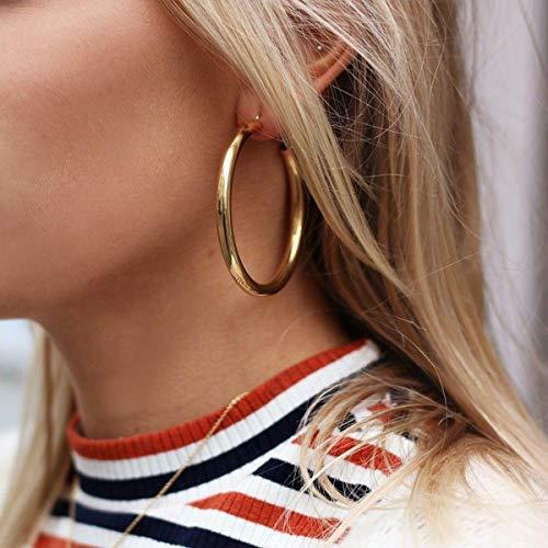 Doubnine Tube Hoop Earrings Gold Lightweight Large Earrings Women Fashion Jewelry Earrings (50mm, gold)