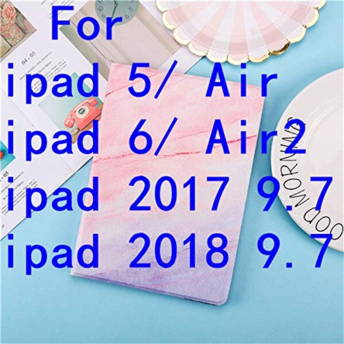 QiuKui Tab Cover For iPad 9.7 2017 2018 A1893, Marble PU Leather Smart Cover for iPad 2/3/4/5/6 Air Air 2 MINI 1 2 3 4 5 (Color : For iPad 5 Air/6 Air2 A)