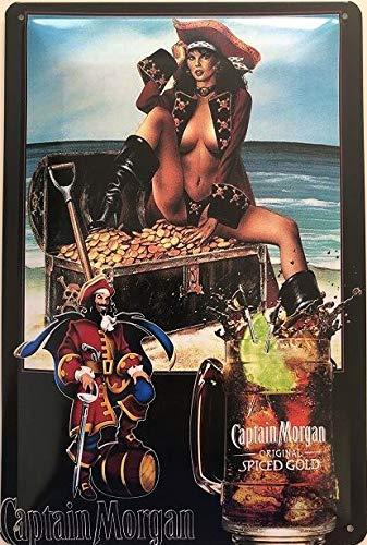 Deko7 Blechschild 30 x 20 cm Captain Morgan Orginal Spiced Gold - Schatzinsel