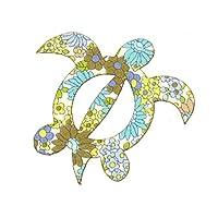花柄 ホヌ (ウミガメ)モチーフ アップリケ アイロン接着可能 パープル