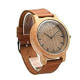 JUE Bambú y Madera Nuevo Reloj de Cuero de Madera Reloj de Cuarzo Reloj de los Hombres, Manera Ocasional, Decoración Reloj Mundial A+ (Color : C)