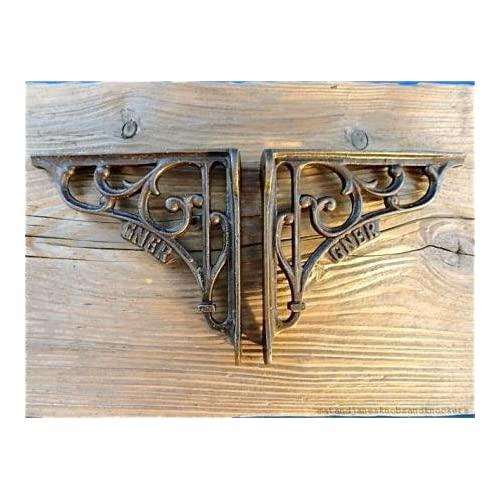 A PAIR OF SMALL CAST IRON HAMMERED ANTIQUE STYLE SHELF BRACKETS WALL BRACKET Hardware Antiques
