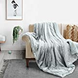 GONAAP Glitter Fleece Sherpa Throw Blanket Lightweight Worm Super Soft Luxury Decorative Ice Flower Metallic Gloss Design for Couch Sofa Bed Chair (Throw, 50x60 inches Wrinkle Silver)