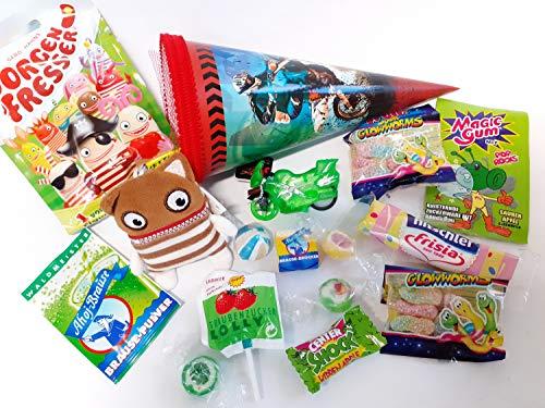 101663 Schultüte 22cm gefüllt Motorrad Enno Sorgenfresser Spielsachen & Schulbedarf Zuckertüte zum Schulanfang Geschwistertüte Studi