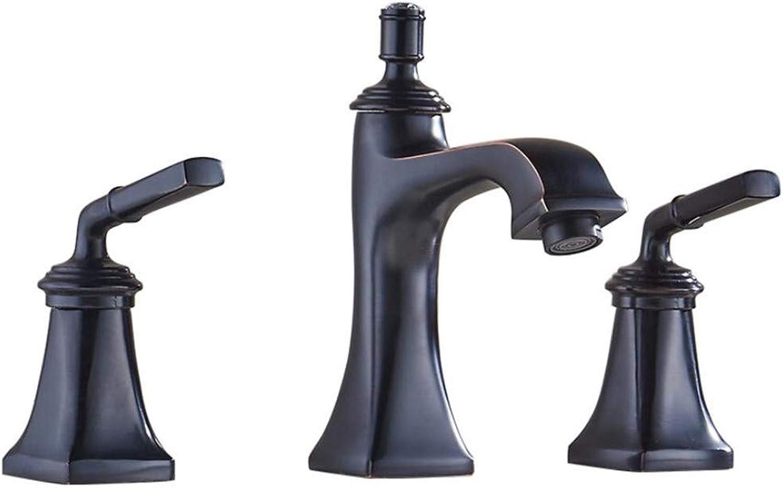 Black Retro Basin Faucet European-Style washbasin Bathroom hot and Cold Three-Hole Split Bathtub Faucet