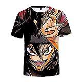 EDMKO Impresión Digital 3D Black Clover Manga Corta Camiseta Tops Asta Moda Blusas Camisas Dibujos Anime Hombre Mujer Cosplay T-Shirt,Multi Colored,4XL