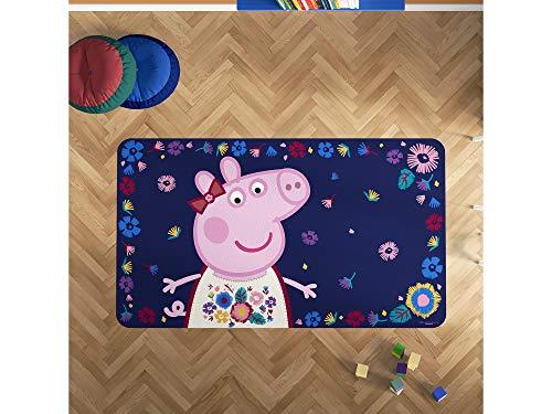Oedim Alfombra PVC Peppa Pig Fondo Floral   165 x 95 cm   Producto Oficial y Original   Suelo vinílico   Decoración del Hogar   Peppa Pig  