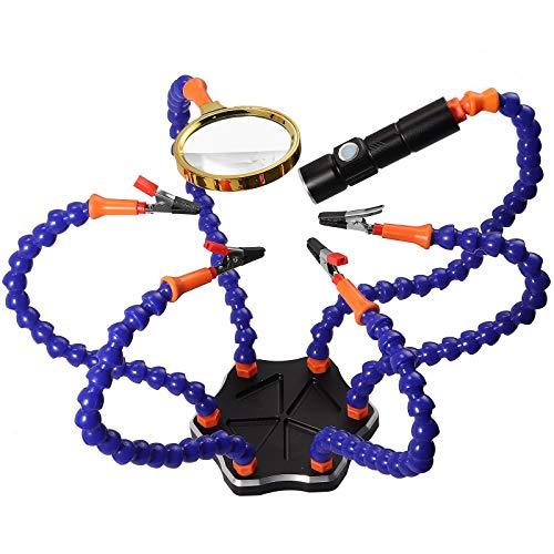 Proster Terza Mano Flessibile per Saldatura Kit 8 Mani Flessibili e 7 Clip a Coccodrillo con Lente d'ingrandimento Base Stazione di Saldatura per Lavoro di Precisione