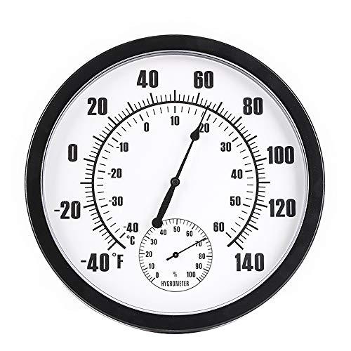 Sunjuly thermometer voor het ophangen aan de muur, hygrometer, thermometer, voor binnen en buiten, rond, 25 cm, hygrometer