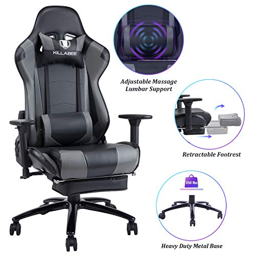 Blue Whale Massage Gaming Chair - Big and Tall 350lbs High Back Racing...