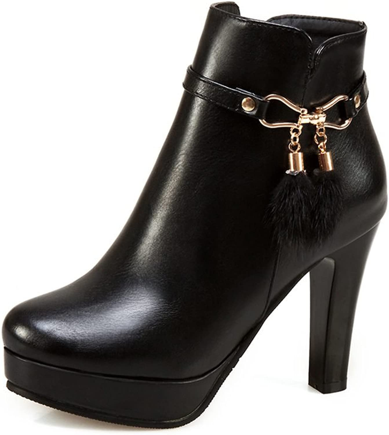 DecoStain Women's Fringe Thick High Heel Ankle High Boots