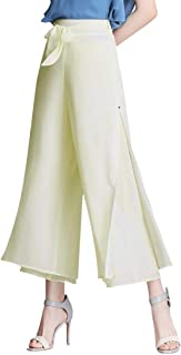 Anbenser Women Palazzo Wide Leg Flowing Pants Chiffon High Waist Casual Trousers