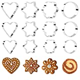 KAISHANE Cookie Cutters Set 12 Pieces Metal Biscuit Cutters Pastry Cutters