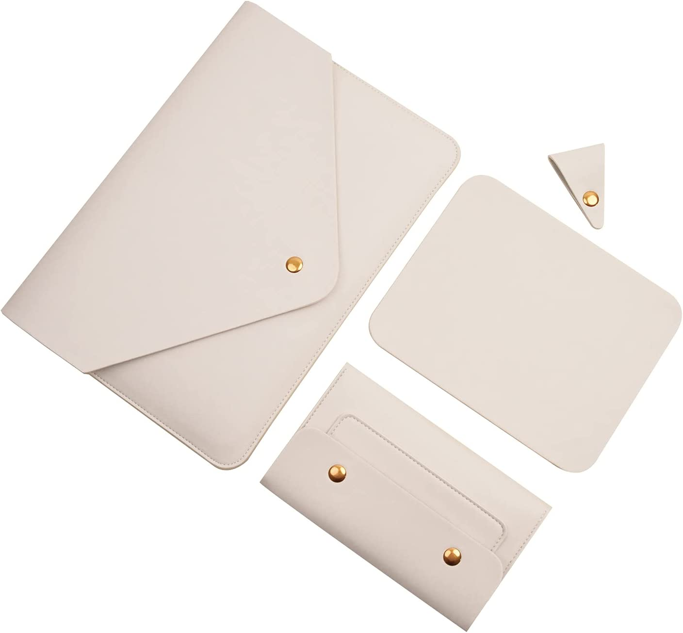 """Benfan Laptop Sleeve 14 Inch Compatible with Surface Laptop 13.5/ Thinkpad X1 Carbon 14"""" /Lenovo Yoga 900/910/920 14"""" with Small Pouch, Mouse Pad and Cord Organizer, Color White"""