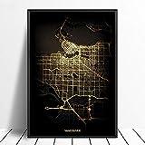 Leinwanddruck,Vancouver Schwarz Golden Custom Welt