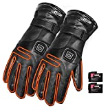 7.4V 4000mAh Heated Gloves for Motorcycle Rechargeable Electric Leather Gloves Battery Heating Thermal Gloves Anti Slip Touch Screen Temperature Control for Winter Outdoor Sports